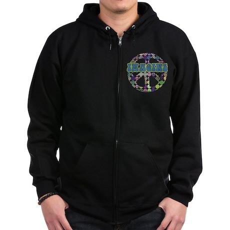 Retro Peace Sign Imagine Zip Hoodie (dark)