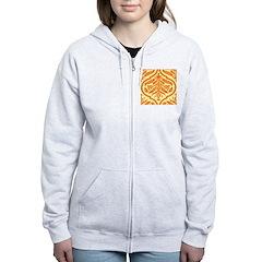Vintage Orange Damask Retro Zip Hoodie