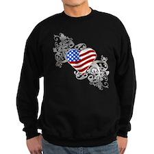 Independence Day Flag Heart Sweatshirt