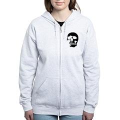 Black and White Goth Skull Zip Hoodie