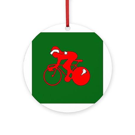 Christmas Cyclist Ornament (Round)