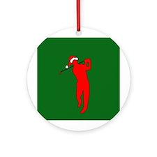 Christmas Golfer Ornament (Round)