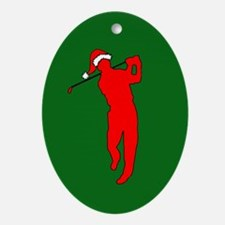Christmas Golfer Oval Ornament