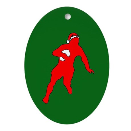 Rugby Christmas Oval Ornament