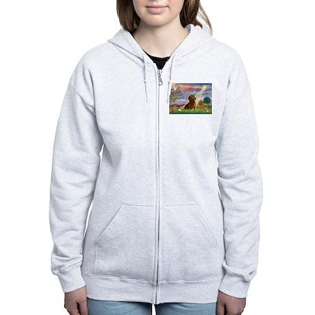 Cloud Angel & Dachshund Women's Zip Hoodie
