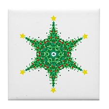 Christmas Snowflake (on white Tile Coaster
