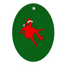 Christmas Skateboarder Oval Ornament