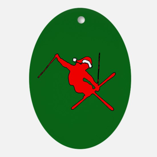 Christmas Skier Oval Ornament