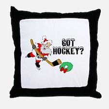 Hockey Santa Throw Pillow