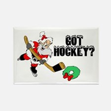 Hockey Santa Rectangle Magnet