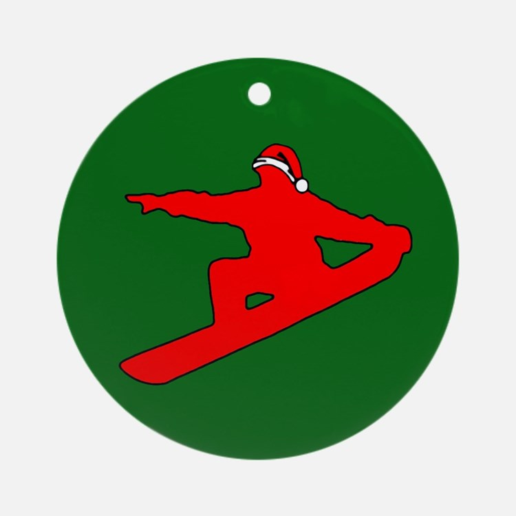 Christmas Snowboarder Ornament (Round)