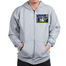 Starry Night PBGV (#4) Zip Hoodie
