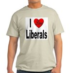 I Love Liberals (Front) Ash Grey T-Shirt