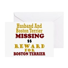 Husband & Boston Terrier Missing Greeting Card