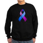 Blue and Purple Awareness Ribbon Sweatshirt (dark)