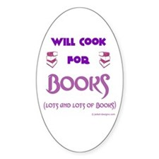 Will Cook For Books Oval Decal