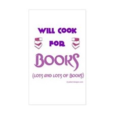 Will Cook For Books Rectangle Decal