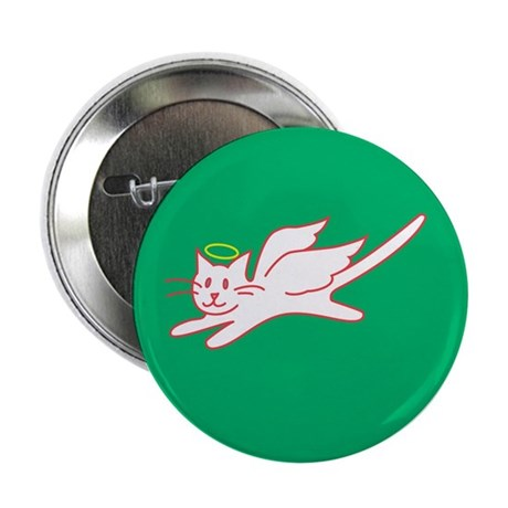 "White Angel Kitty on Green 2.25"" Button (10 pack)"
