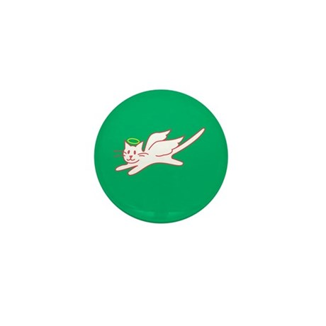 White Angel Kitty on Green Mini Button (100 pack)