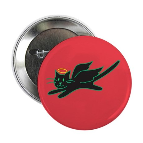 "Black Angel Kitty on Red 2.25"" Button (10 pack)"