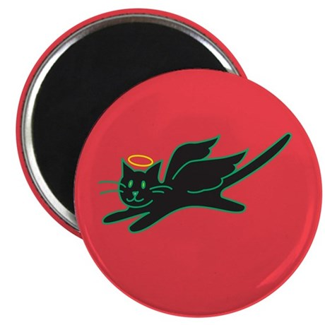 Black Angel Kitty on Red Magnet