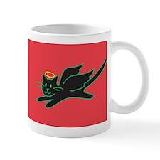 Black Angel Kitty on Red Mug