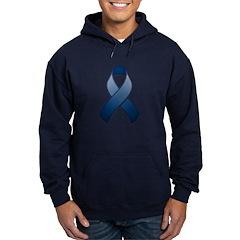Dark Blue Awareness Ribbon Hoodie (dark)