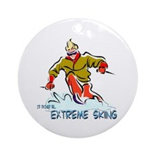 Extreme Skiing Ornament (Round)