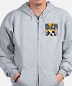 Party Boston Terrier Zip Hoodie