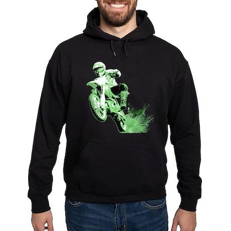 Green Dirtbike Wheeling in Mud Hoodie (dark)