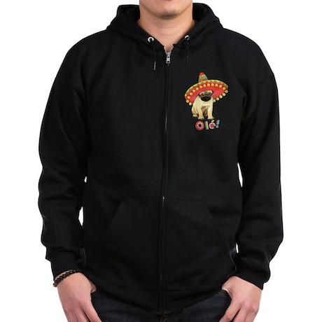 Fiesta Pug Zip Hoodie (dark)