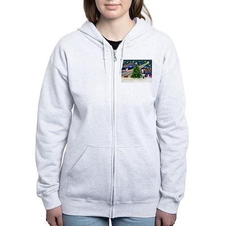 XmasMagic/Siberian Husky Women's Zip Hoodie