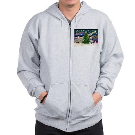 XmasMagic/Siberian Husky Zip Hoodie