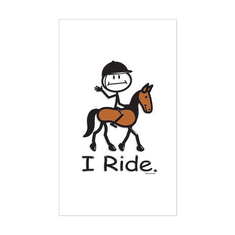 English Horse Riding Stick Fig Sticker (Rectangle)