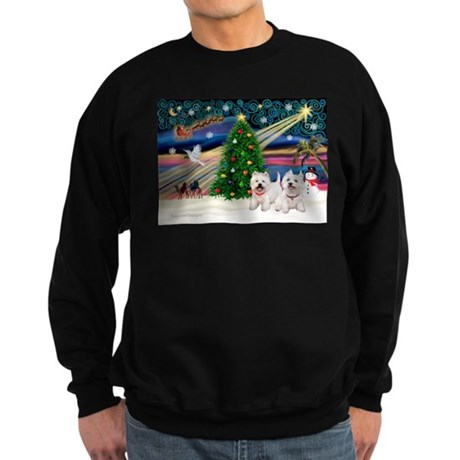 Xmas Magic & 2 Westies Sweatshirt (dark)