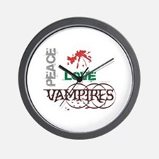 oddFrogg Twilight Peace Love Vampires Wall Clock