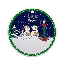 Let It Snow Christmas Ornament (Round)