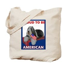 Beardie and US Flag Tote Bag