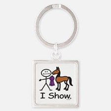 Horse Showing Stick Figure Square Keychain