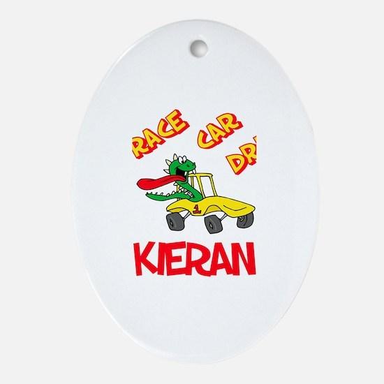 Kieran Race Car Driver Oval Ornament