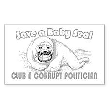 Club a Corrupt Politician Rectangle Decal