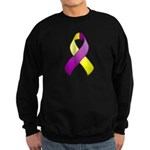 Purple and Yellow Awareness Ribbon Sweatshirt (dar