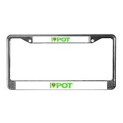 I Love-Alien Pot License Plate Frame