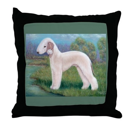 Bedlington (Standing) Throw Pillow