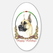 Fawn Great Dane Holiday Oval Decal
