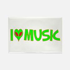I Love-Alien Music Rectangle Magnet