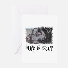 BLACK LAB LIFE IS RUFF Greeting Cards (Package of