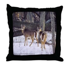 Winter Whitetail Deer Throw Pillow