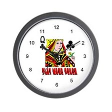 Play More Poker Queen Wall Clock