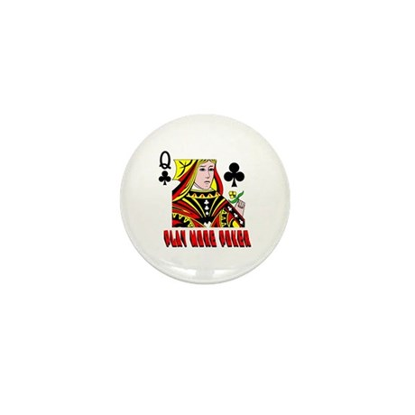 Play More Poker Queen Mini Button (10 pack)